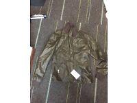 Brand New Zara Leather Bomber Jacket
