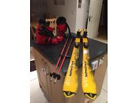 Salomon Racer Skis and Salomon Ski Boots - used but in good condition