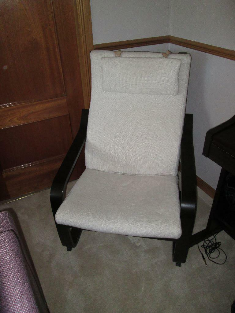 Ikea poang 2 chairs white dark brown good condition 60 can deliver in stonehaven - Chairs similar to poang ...