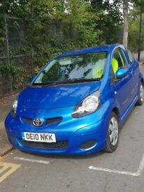 TOYOTA AYGO BLUE 2010 3DOORS 1Ltr, MOT 08/2019, CHEAP TAX OF £20/YEAR
