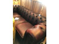 3 Seater Leather Chesterfield o blood red