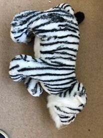 tiger soft toy black and white