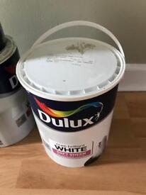 5 litre unopened soft sheen paint 'mossy stone'