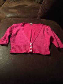 Pink cropped cardigan new look size 8