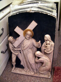 Plaster Stations of the Cross Religious Christian Vintage Wall Plaques Hangings