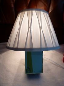 Mirror Base Bedside Lamp with white Shade