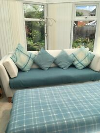 Cream fabric 3 seater sofa and matching large footstall