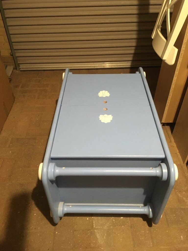 Baby Blue Hand-Painted Solid Wood Chest for Sale. Great for storage!