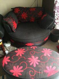 Swivel cuddle chair & pouffe