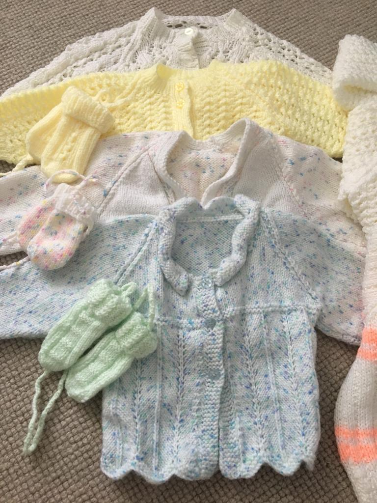 43d6eb19f 7 Hand Knitted cardigans various sizes up to 1 or 2 year old girls
