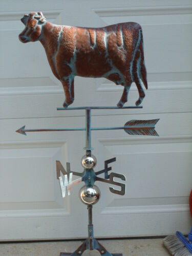 3D Cow Weathervane Hand Crafted Copper Patina Finish  Weather Vane