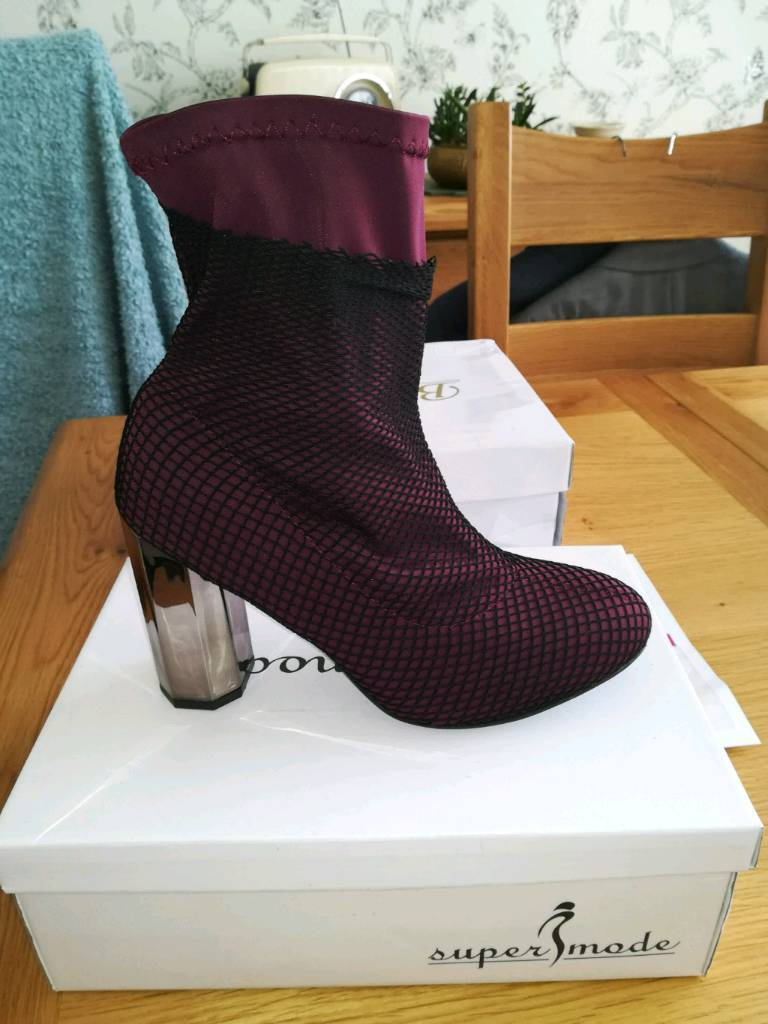 New ladies maroon net overlay ankle boots size 6