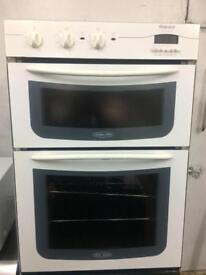 White Hotpoint 60cm by 85cm integrated electric grill & double fan assisted ovens with guarantee