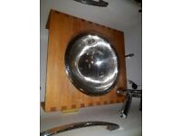 Sink stainless steele with wooden base