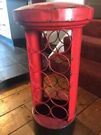 Wine rack red metal post box