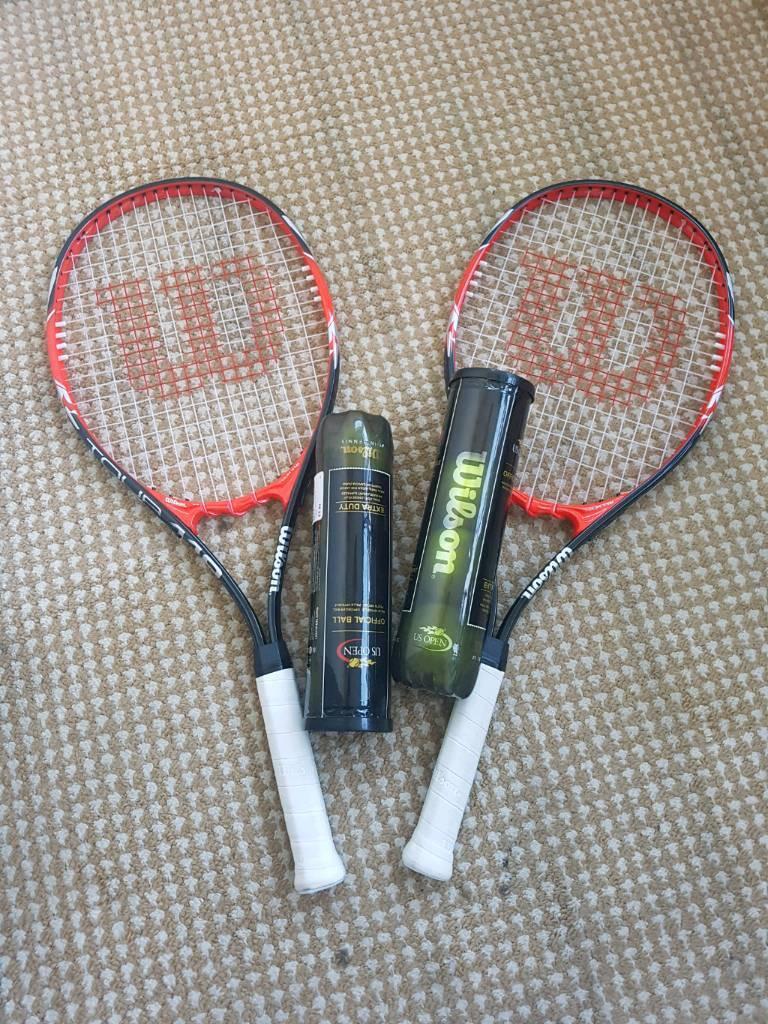 2x Wilson tennis rackets and Wilson balls