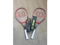 2x Wilson tennis rackets and Wilson balls