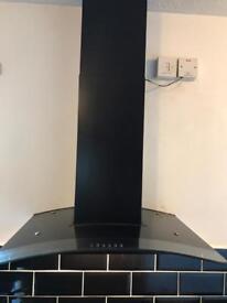 Black glass cooker hood
