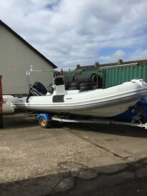 5.5M Apex Rib with 115HP Mercury outboard and trailer