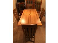 Solid Oak & Walnut Inlay Dining Table & Six Matching Chairs