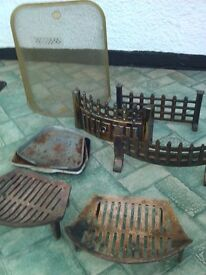 Selection of grates, fire frets, pans and fire guard