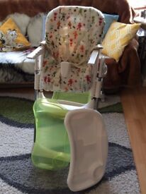 Adjustable High chair with Removable Tray Insert