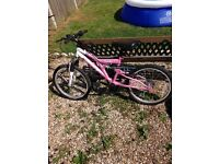 Girls bike hardly used, suit ages 8,9 or 10.Vesuvius terrain from tescos cost £80 new