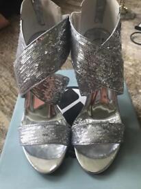 BNIB ladies silver shoes size 39