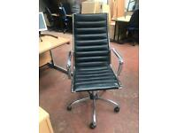 Black & Chrome Leatherette Adjustable Computer Chair