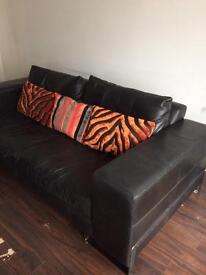 BLACK & CHROME LEATHER 4 SEATER WITH CUSHIONS