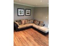 Corner sofa, two seater sofa and footstool