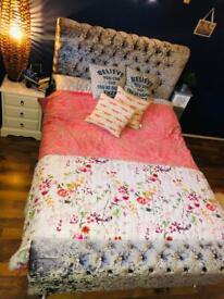 Double bed frame velvet, Crystals 🛏 🛍