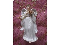 """*Porcelain Christmas Angel Ornament with Incense Large Figurine:""""Traditions""""White & Gold:Decorations"""