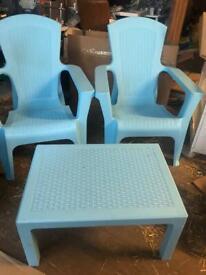 Blue patio set