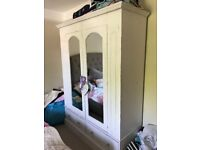 Bedroom wardrobe; large French type shabby chic distressed wood