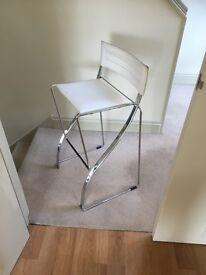 Stylish modern white high stool, with chrome