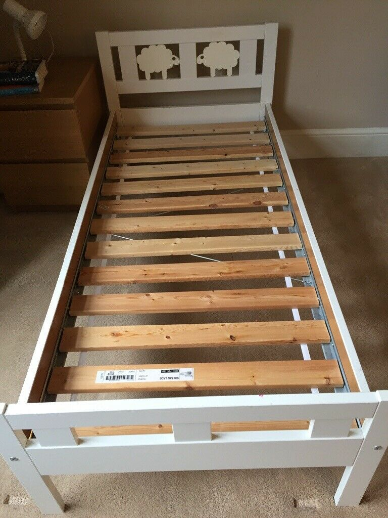 Childrens White Bed Frame With Guard Rail On One Side The Original