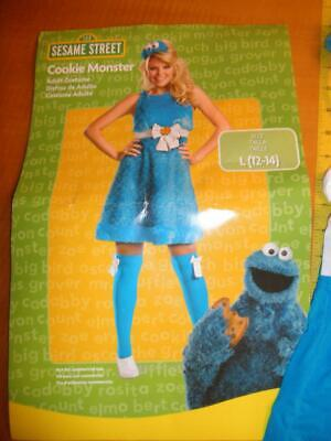 Disguise Cookie Monster Sassy Adult Female Costume Blue Dress Large 12-14