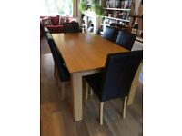 Solid Oak Large Modern Dining table - seats 6 to 8 Excellent used condition + Free chairs