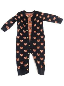 Unbranded wool jumpsuit with bear print and buttons, ages 1-2 years