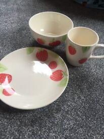 Strawberry mug, bowl and plate set