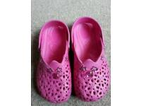 Pink crocs style shoes size 10- 11
