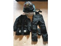 Kids motorcycle helmets ,jackets, trousers and gloves.