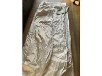 2 x pair of cream faux silk curtains size 66x72