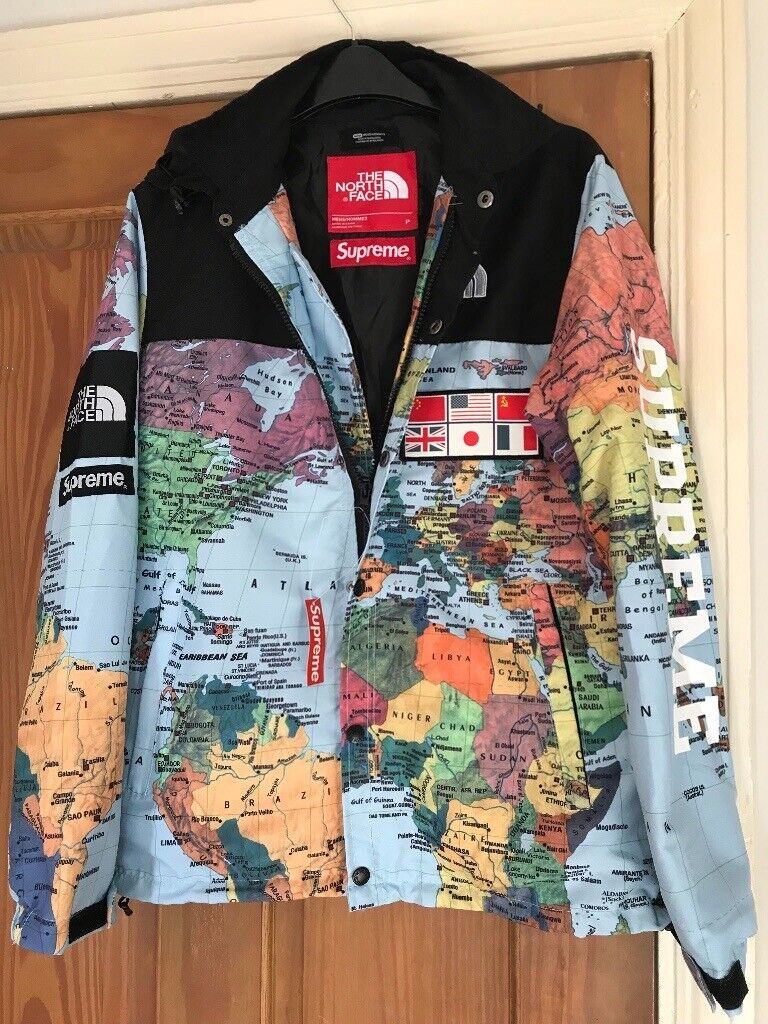 The North Face Supreme Jackets (Replica) Black/Yellow/Blue/Map