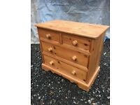 Solid pine two over two chest of drawers