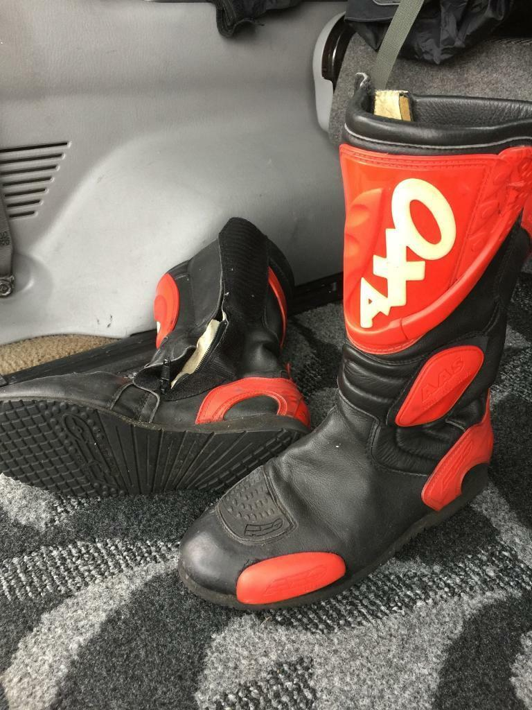 fb6c53ad7d Axo Motorcycle boots black and red size euro 42 uk 8