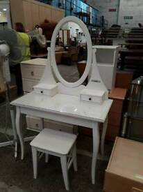 White Dressing Table With Stool & Mirror - Delivery Available