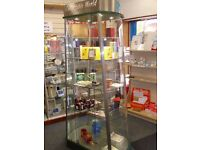 Glass/perspex 4 sided display cabinet