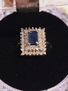 #1194 14K RECTANGLE BLUE SAPPHIRE WITH DIAMONDS .47CT *JUST APPRAISED FOR $3450.00 SELLING FOR ONLY $995.00*